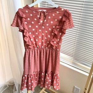 Pink Lily Pink Polka Dot Mini Dress